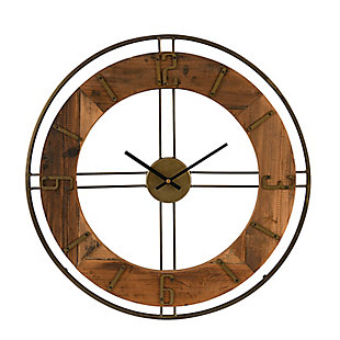 Creative Co-Op Metal and Fir Wood Dia Wall Clock, , large