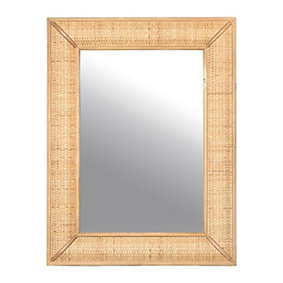 Creative Co-Op Rectangle Wall Mirror with Rattan Detail, Natural, , large