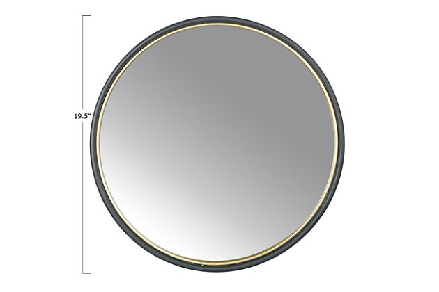 Creative Co-Op Round Metal Wall Mirror, , large