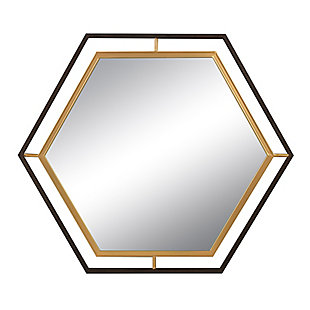 Creative Co-Op 2-Tone Hexagon Metal Wall Mirror, , large