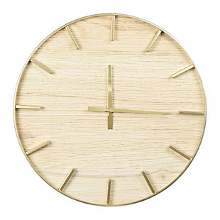 Creative Co-Op Round Wood Wall Clock, Natural, , large