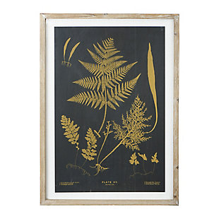 Creative Co-Op Wood and Glass Wall Decor with Fern, Black, , large