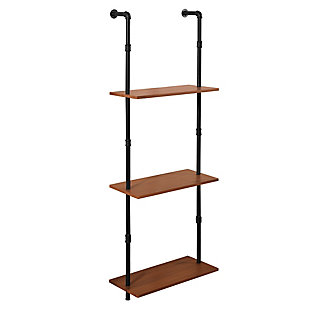 Furinno Wyatt Induatrial Style 3-Tier Wall-Mounted Storage Shelf, Antique Espresso, , rollover