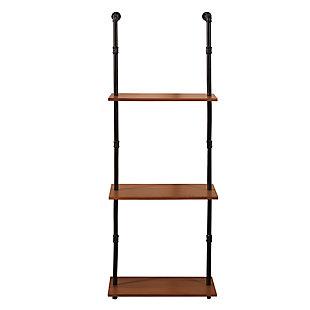 Furinno Wyatt Induatrial Style 3-Tier Wall-Mounted Storage Shelf, Antique Espresso, , large