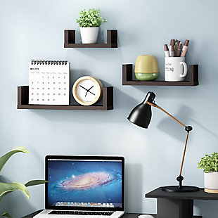 Furinno Indo Wall Mounted Floating Shelves, Espresso, Set of 3, , rollover