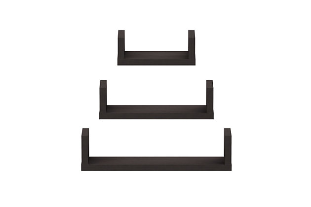 Furinno Indo Wall Mounted Floating Shelves, Espresso, Set of 3, , large