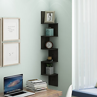 Furinno Rossi 5-Tier Wall Mount Floating Radial Corner Shelf, Espresso, , rollover