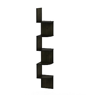 Furinno Rossi 5-Tier Wall Mount Floating Radial Corner Shelf, Espresso, , large