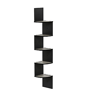 Furinno Rossi 5-Tier Wall Mount Floating Radial Corner Shelf, French Oak Gray/Black, , rollover