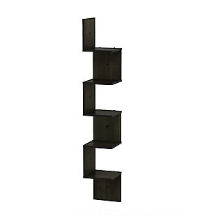Furinno Rossi 5-Tier Wall Mount Floating Corner Square Shelf, Espresso, , large