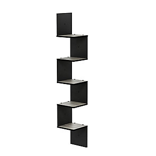 Furinno Rossi 5-Tier Wall Mount Floating Corner Square Shelf, French Oak Gray/Black, , rollover