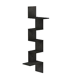 Furinno Rossi Modern 5-Tier Wall Floating Corner Shelf, Espresso, , rollover