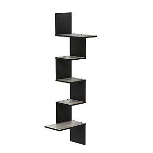 Furinno Rossi Modern 5-Tier Wall Floating Corner Shelf, French Oak Gray/Black, , rollover