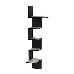 Furinno Rossi Modern 5-Tier Wall Floating Corner Shelf, French Oak Gray/Black, , large
