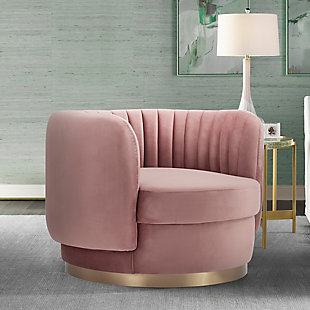 Davy Blush Velvet Swivel Accent Chair with Gold Base, Blush, rollover