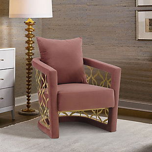 Corelli Blush Fabric Upholstered Accent Chair with Brushed Gold Legs, , rollover
