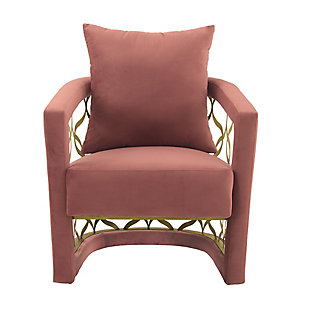 Corelli Blush Fabric Upholstered Accent Chair with Brushed Gold Legs, , large