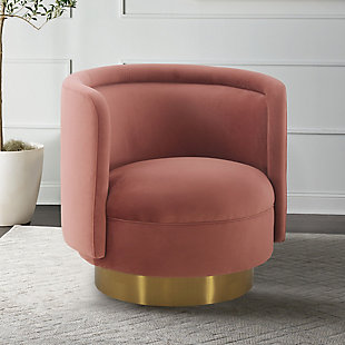 Peony Blush Fabric Upholstered Sofa Accent Chair with Brushed Gold Legs, Blush, rollover