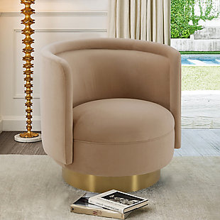 Peony Natural Fabric Upholstered Sofa Accent Chair with Brushed Gold Legs, Natural, rollover