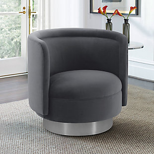 Peony Gray Fabric Upholstered Sofa Accent Chair with Brushed Gold Legs, Gray, rollover
