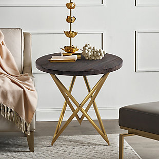 Atala Brown Veneer End Table with Brushed Gold Legs, , rollover