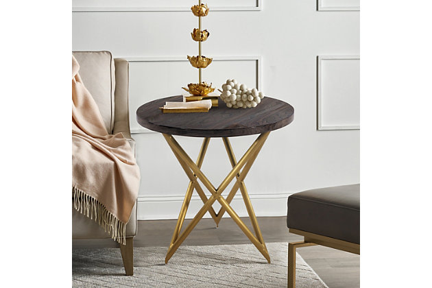 Atala Brown Veneer End Table with Brushed Gold Legs, , large