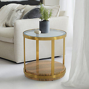 Hattie Glass Top End Table with Brushed Gold Legs, Gold, rollover
