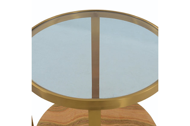 Hattie Glass Top End Table with Brushed Gold Legs, Gold, large