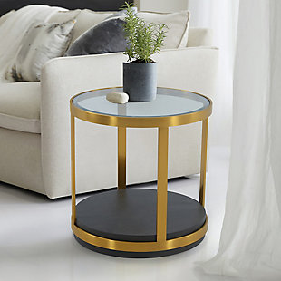 Hattie Glass Top and Walnut Wood End Table with Brushed Gold Frame, Gold/Brown, rollover
