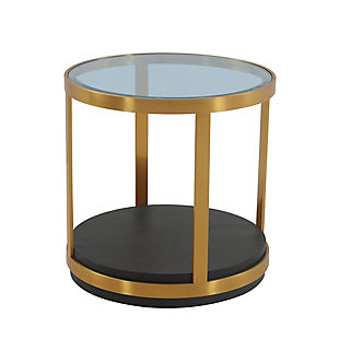 Hattie Glass Top and Walnut Wood End Table with Brushed Gold Frame, Gold/Brown, large