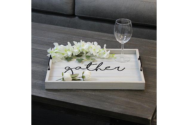 "Elegant Designs Decorative ""Gather"" Wood Serving Tray, Gray Wash, large"