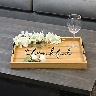 "Elegant Designs Decorative ""Thankful"" Wood Serving Tray, , rollover"