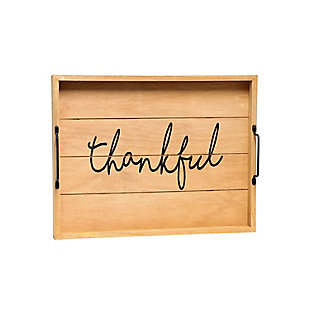 "Elegant Designs Decorative ""Thankful"" Wood Serving Tray, , large"