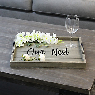 """Elegant Designs Decorative """"Our Nest"""" Wood Serving Tray, , rollover"""