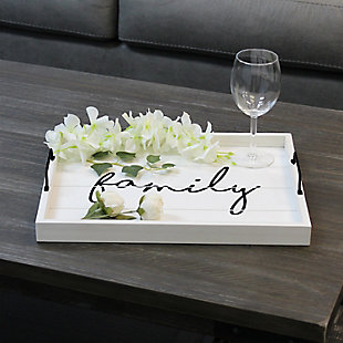 """Elegant Designs Decorative """"Welcome"""" Wood Serving Tray, White Wash, rollover"""