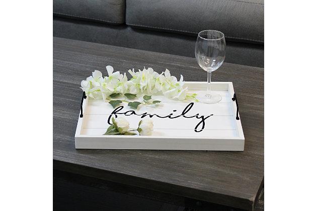 "Elegant Designs Decorative ""Family"" Wood Serving Tray, , large"