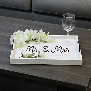 """Elegant Designs Decorative """"Mr. and Mrs."""" Wood Serving Tray, , rollover"""