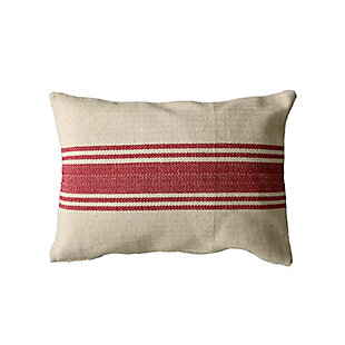 Creative Co-Op Cotton Canvas Striped Throw Pillow, Red, large