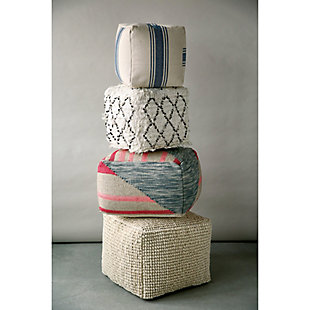 Creative Co-Op Cotton Canvas Striped Pouf, , rollover