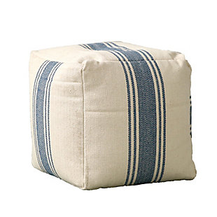 Creative Co-Op Cotton Canvas Striped Pouf, , large
