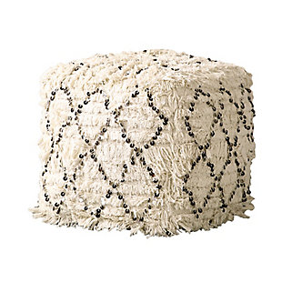 Creative Co-Op White Moroccan Wedding Quilt Pouf, , large