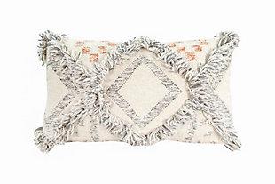Creative Co-Op Wool Gray Fringe Kilim Throw Pillow, , large
