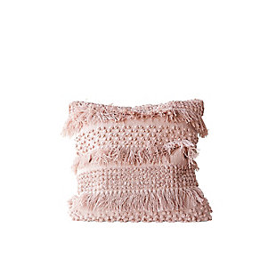 Creative Co-Op Fringe Pink Throw Pillow, , large