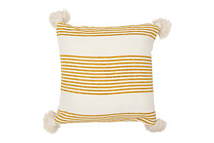 Creative Co-Op Vertical Stripe Cotton Chenille Throw Pillow, Yellow, large
