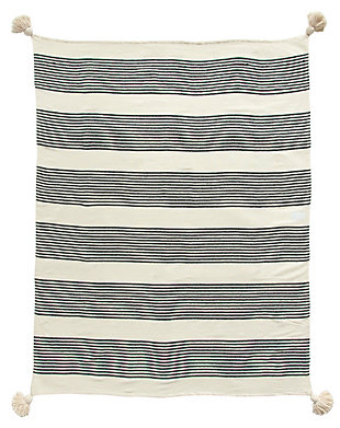 Creative Co-Op Striped Cotton Chenille Woven Throw, , large