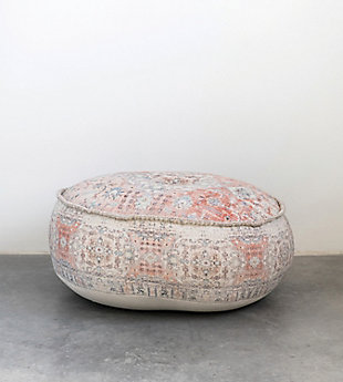 Creative Co-Op Heavily Distressed Cotton Pouf, , rollover