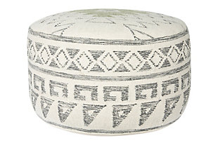 Creative Co-Op Wool Blend Kilim Pouf, , large