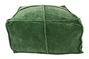 Creative Co-Op Velvet Cotton Pouf, Green, large