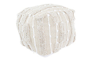 Creative Co-Op Overstuffed Cotton Woven Pouf, , large