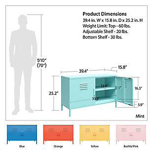 Novogratz Cache 2-Door Metal Locker Accent Cabinet, Spearmint, large